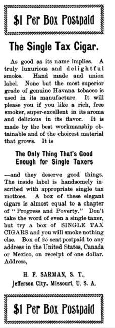 1901-07 Single Tax Review  STCigars ad  Sarman  JeffCityMo