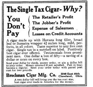 1915-05-28 The Public  Single Tax Cigar  Brochman  ClevelandO
