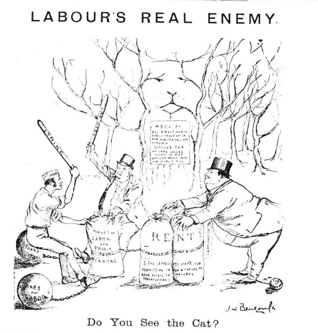 Do You See the Cat- Bengough cartoon  Single Tax  1897-11 Labour's Real Enemy