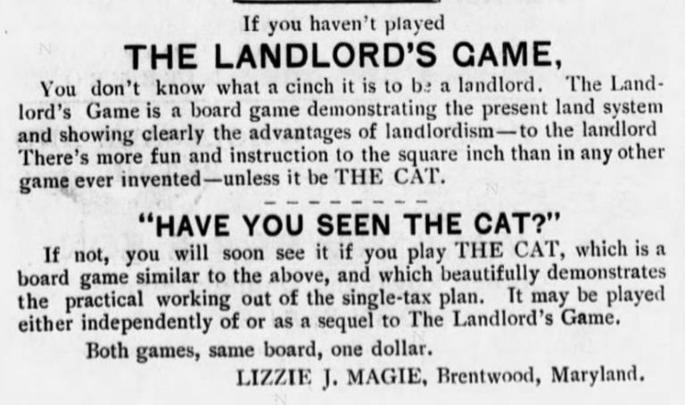 1904-11-01 Fairhope Courier  The Landlord's Game and The Cat
